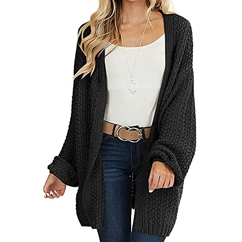 Vertvie Cárdigan de punto de punto de la torcedura del suéter de la manga larga de la parte, Negro, XXL