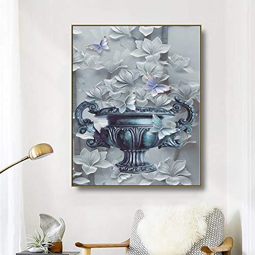 ganlanshu Lienzo Arte Flores y Mariposas Arte póster Imagen Moderna decoración de la Pared Sala de Estar,Pintura sin Marco,50x60cm