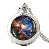 Dandelion Magical Nebula Galaxy Universe Illustration Pocket Watch,Artistic Glass Pocket Watch,Fantastic Pocket Watch Gift