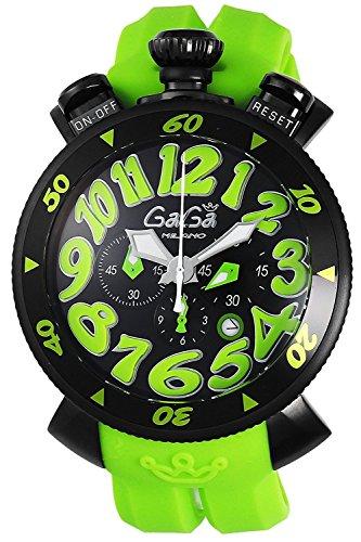 GaGa MILANO Cronografo Orologio 48mm Quadrante Nero Cassa in acciaio...
