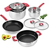Rondell Savvy Stainless Steel Induction Cookware Set 10 pcs - Kitchen Non Stick Cooking Casseroles with Lids, Frypan, Saucepan, Sautepan - Impact-Bonded Technology - Dishwasher safe