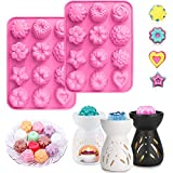 2 Pack Silicone Flower Wax Melt Molds/Wax Soap Tart Mold/ 12 Cavity Wax Cubes Tray for Candle-Making & Soap