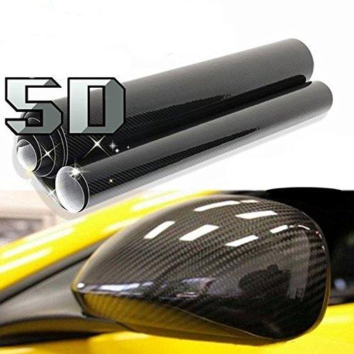 Tuning-Garage-3000 [19,71€/m²] Folie Selbstklebend Hochglanz Luftkanäle Carbon 5D Schwarz + DEUTSCHE Anleitung (100cm x 150cm)