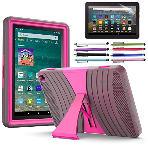 EpicGadget Case for Amazon Fire HD 8 / Fire HD 8 Plus (10th Generation, 2020 Released) - Heavy Duty Hybrid Case Cover with Kickstand + 1 Screen Protector and 1 Stylus (Gray/Pink)