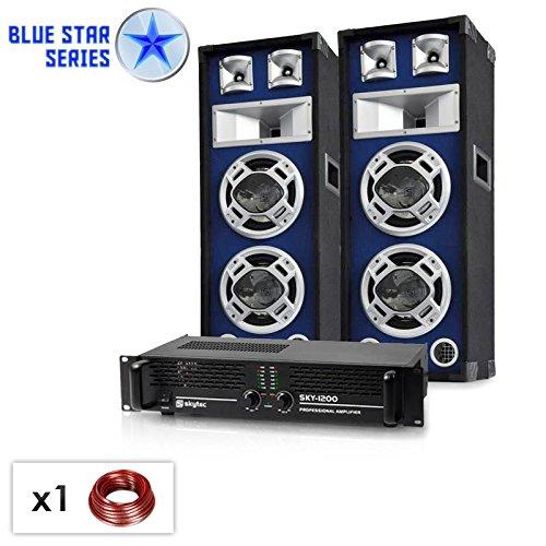 PA Set Blue Star Series Bassboom 1600 Watt PA Boxen mit Verstärker (musiksensitiver LED Lichteffekt, brückbar, inkl. Boxenkabel) blau
