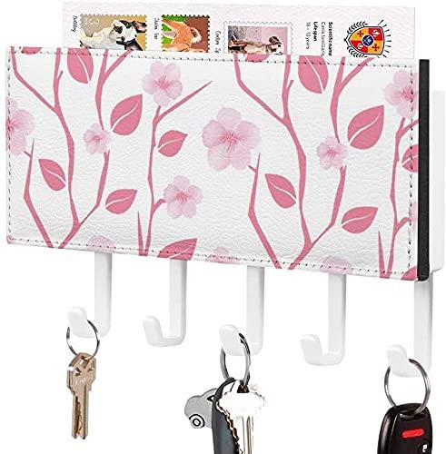 Soporte para llaves para gancho de pared, rama de cerezo de arte abstracto con flor de cerezo, soporte para correo de entrada a la pared, organizador de llaves decorativo con 5 ganchos