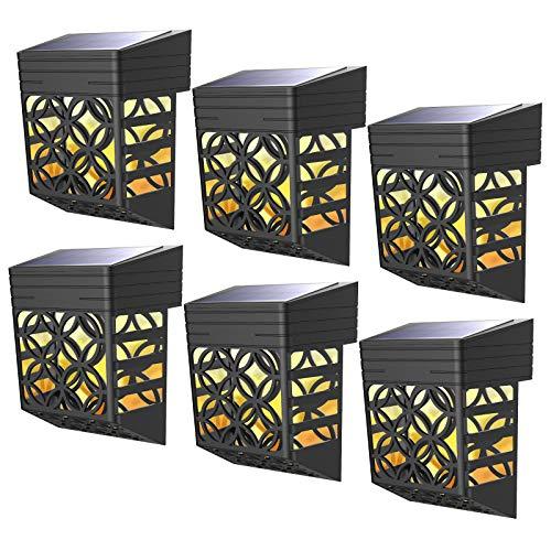 Solarleuchte für Außen, Dekorative Solarlampe, Wasserdicht Wandleuchte Garten, LED Solar Laterne mit 180° Bereich, Sicherheitswandleuchte Warme Beleuchtung 6 Stück