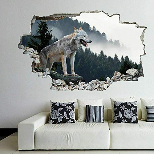 Pegatinas de pared Wolf Mountain Animal Wall Art Sticker Mural Decal Home Office Decoración Póster Arte 3D Mural 50x70cm
