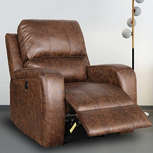 Best Electric Recliner Chair - Bonzy Home Suede Leather Power Recliner Chair with Overstuffed Reclining C