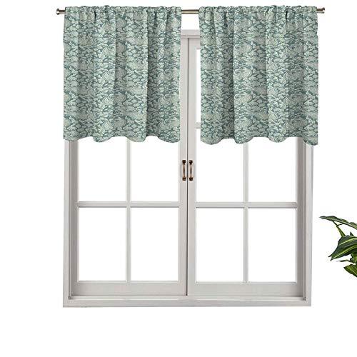 Hiiiman Cenefa opaca de alta calidad con bolsillo para barra, estilo victoriano, diseño floral vintage, color suave, juego de 2, 137 x 61 cm, paneles opacos decorativos para el hogar para dormitorio