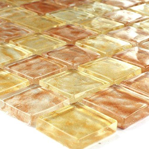 Glasmosaik Mosaik Fliesen Bernstein Beige Mix Getrommelt 25x25x6mm