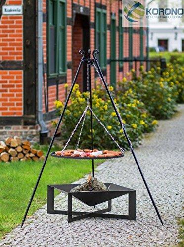 Korono draaibare barbecue, 2 in 1 rooster, 80 cm en vierkante vuurschaal 70 x 70 cm, elegante vuurschaal en mobiele barbecue.