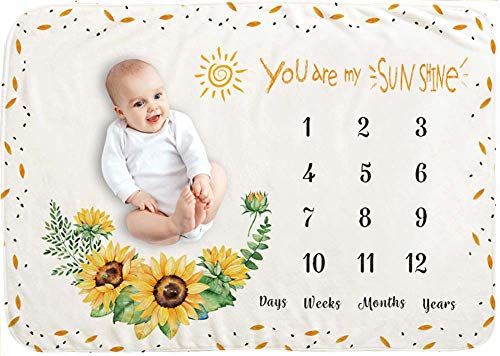 illikkuyax Baby Monthly Milestone Blanket Girl, 40×60 Inches Sunflower Milestone Blanket, You are My Sunshine, Flannel Fleece, Photography Backdrop Photo Prop