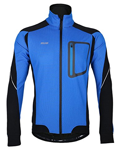 iCREAT Herren Jacke Air Jacket Winddichte Wasserdichte Lauf- Fahrradjacke MTB Mountainbike Jacket Visible reflektierend, Fleece Warm Jacket für Herbst, Blau Gr.XXL
