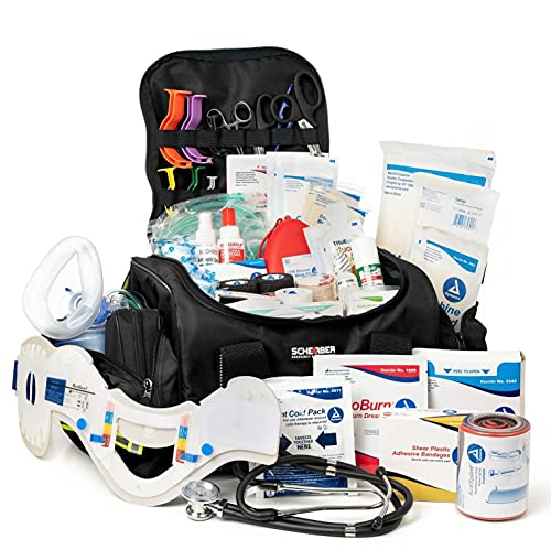 Scherber First Responder Bag | Fully-Stocked Large Professional Essentials EMT/EMS Trauma Kit | Reflective Bag w/8 Zippered Pockets & Compartments, Shoulder Strap & 250+ First Aid Supplies - Black