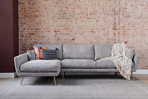 Edloe Finch Modern Sectional Sofa Facing Chaise Cruelty-free Synthetic Feather Cushions, Grey