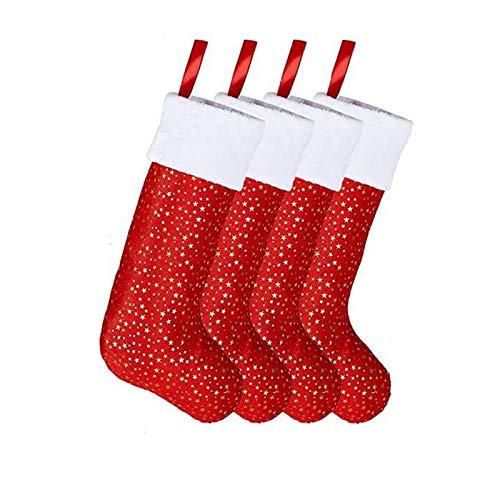 Medias de Navidad Juego de 4 Calcetín Navideño Rojo Personalizado con Patrón de Estrella Dorada Bolsa de Regalo de Caramelo para la Decoración de la Fiesta de Navidad