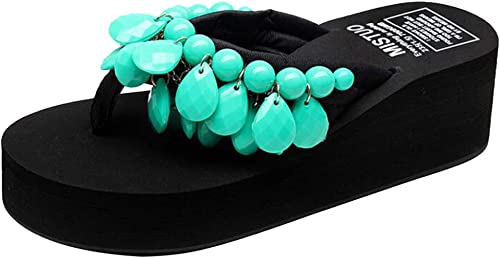 MISS LI Flip Flops Flops Mode Sandales Main Perles Couture Wedges éponge Chaussons Chaussures De Plage,vert-38  en solde 70% de réduction