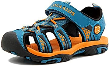 Poppin Kicks Boys' & Girls' Quick Dry Closed Toe Water Sandals Blue 1 M US Little Kid