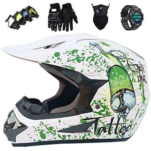 Juego de Cascos Motocross Niños, JMY-03 Casco MTB Integral de Blanco Brillante Motocicleta para Adultos y Jóvenes Cascos de Protección Todoterreno Downhill Dirt Bike MX Equipo de Protección,X-Large