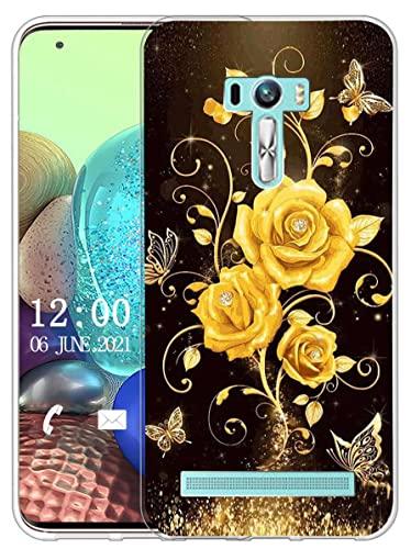 Sunrive Kompatibel mit Asus Zenfone Selfie ZD551KL Hülle Silikon, Transparent Handyhülle Schutzhülle Etui Hülle (X Schmetterling und Rose 1)+Gratis Universal Eingabestift MEHRWEG
