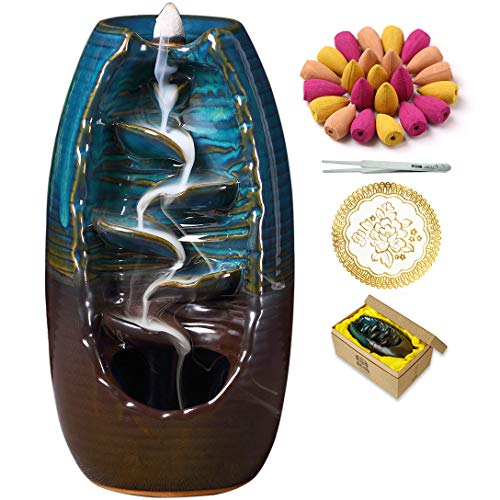INONE Backflow Incense Burner Waterfall Ceramic Incense Holder for Aromatherapy Ornament Home Decor