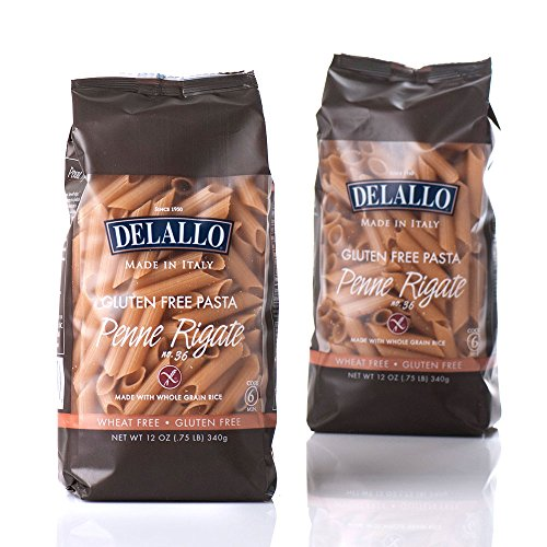 DeLallo Gluten Free Brown Rice, Penne Regate, 12-Ounce (Pack of 12)