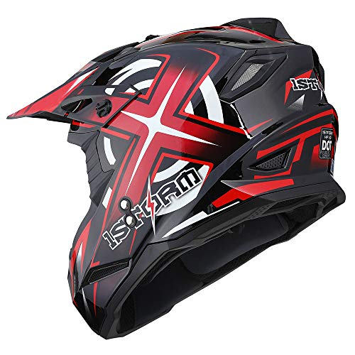 Product Image 6: 1Storm Motocross Adult Helmet BMX MX ATV Dirt Bike Helmet Racing Red + Goggles + Skeleton Red Glove Bundle
