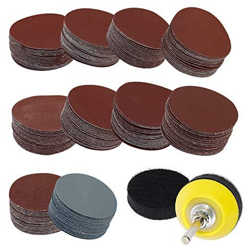 SUSSURRO 200 Stück Schleifpapier Schleifscheibe schleifscheiben Klett 50mm Körnung je 80-3000 Grits mit 1 Stück Polierpad Adapter