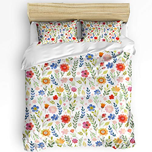 Fandim Fly Comforter Cover Bedding Set 92 x 106 Inch Floral Patterned Illustration with Leaves and Wildflowers Abstract Botanical Duvet Cover Set King Size with Zipper Closure for All Seasons