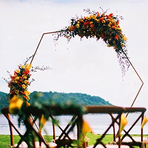 Cenador de jardín de arco de metal hexagonal, accesorios de boda de círculo de hierro, decoración de fondo de arco, para varias plantas trepadoras, al aire libre, decoración de fiestas,White-1.5M