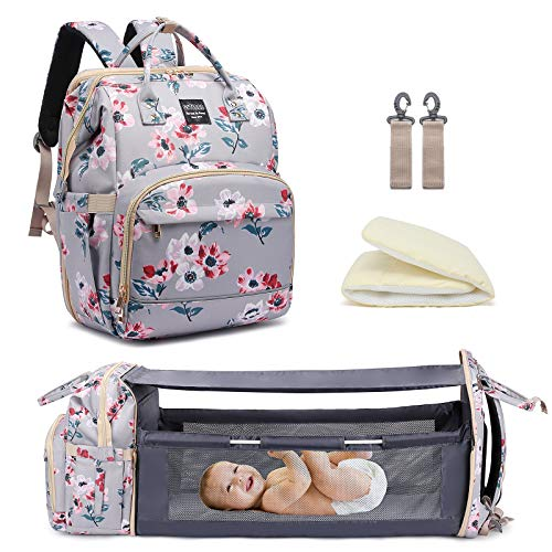 Diaper Bag Backpack with Travel Bassinet,Detachable Foldable Baby Bed for Bady Toddler, 3 in 1 Nappy...