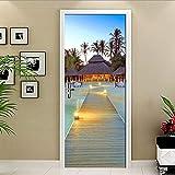 ADYNL Pegatinas Puertas Adhesivo Interiores 3D Puente De Madera De Playa con Vista Al Mar Etiqueta De La Puerta De Vinilo Autoadhesivo Foto Murales Impermeables Dormitorio Decoración del Hogar Cartel