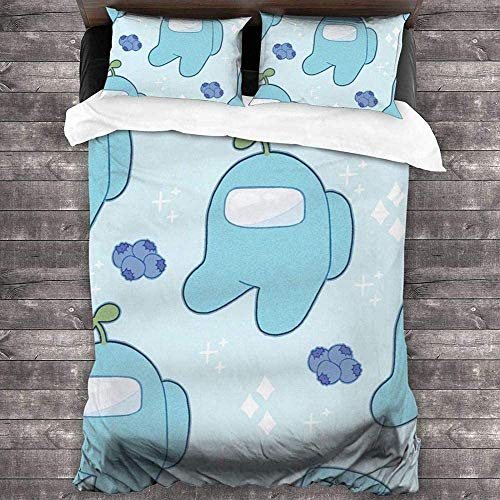 Among Us - Juego de ropa de cama (funda nórdica y funda de almohada de microfibra, con cremallera, 135 x 200 cm (50 x 75 cm)