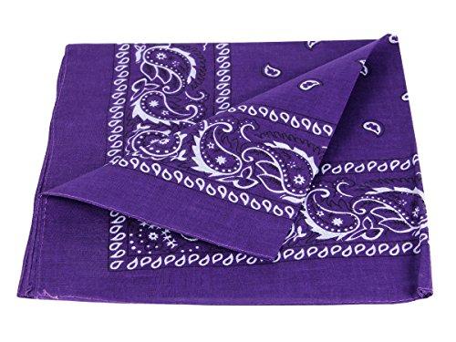 Alsino Bandana Zandana Kopftuch Halstuch Paisley Muster 100% Baumwolle (dunkel lila 64)