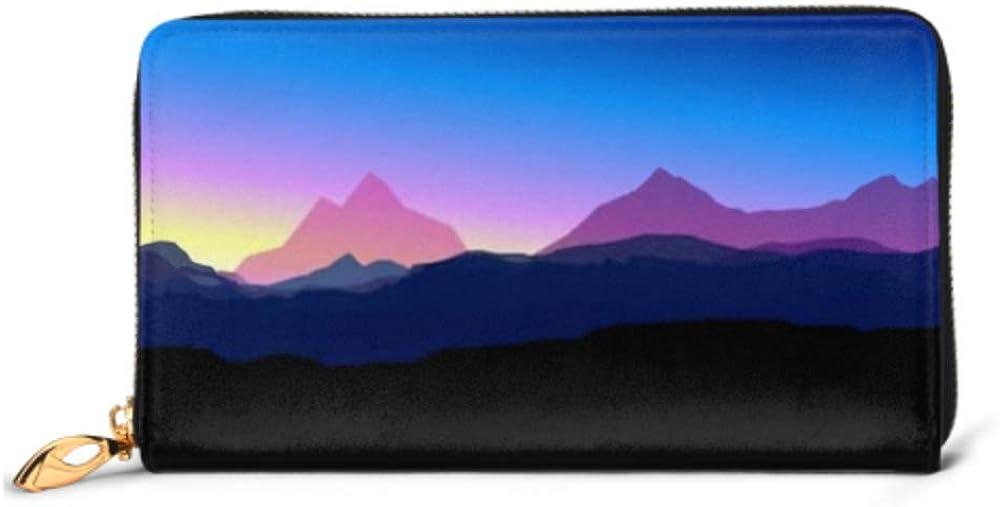 Fashion Handbag Zipper Wallet Mountains Sunset Phone Clutch Purse Evening Clutch Blocking Leather Wallet Multi Card Organizer