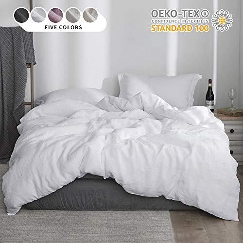 Simple&Opulence 100% Linen Stone Washed 3pcs Basic Style Solid Duvet Cover Set (Full, White)