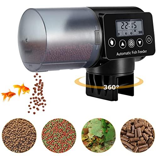 Acuario Alimentador Comedero Automatico Peces - 200ml Dispensador De Comida para Peces Programable para Acuario Alimentos para Peces con Pantalla LCD y el Tiempo de Alimentación Configuración (A)