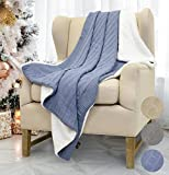 Catalonia Cable Knit Sherpa Throws, Reversible Super Soft Sherpa Sweater Blanket Warm Cozy for Couch Bed 60x50 Blue