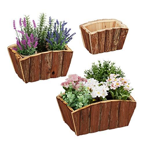 Relaxdays Blumenkasten 3er Set, natürliches Holz mit Rinde, Garten, Terrasse & Fensterbank, Deko zum Bepflanzen, Natur
