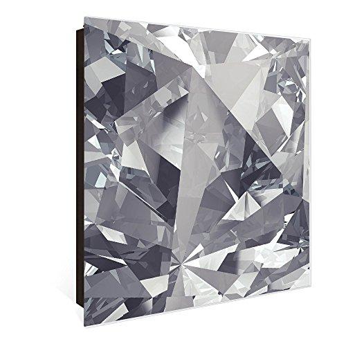 banjado Großer Schlüsselkasten aus Glas | Schlüsselbox mit 50 Haken | beschreibbare Glastür Scharnier Rechts | als Magnettafel nutzbar | Schlüsselaufbewahrung 30cm x 30cm | Motiv Facetten Monochrome