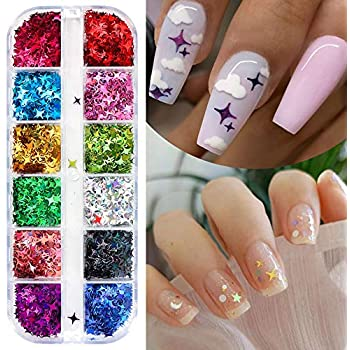 CHANGAR Nail Art Glitter Sequins, 3D Laser Cross Star Nail Paillette Decals Sticker Holographic Four-Angle Star Nail Sparkle Glitter for Manicure Make Up DIY Decals Decoration