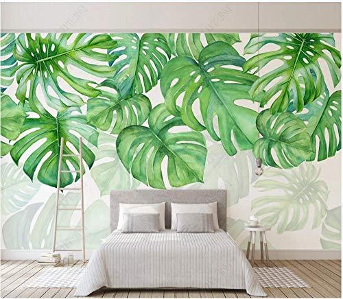 Fototapete 3D Effekt Tapete Grüne Blatthintergrundwand Der Modernen Minimalistischen Tropischen Pflanze 250X175Cm Fototapete Vlies Tapeten Wand Wallpaper Dekoration