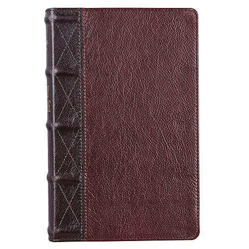 Compare Textbook Prices for KJV Holy Bible, Giant Print Standard Size, Two-tone Brown Premium Full Grain Leather w/Thumb Index and Ribbon Marker, Red Letter, King James Version Large type / Large print Edition ISBN 9781432133917 by Christian Art Publishers