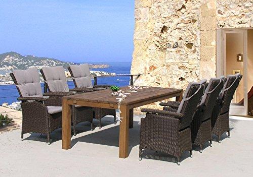 Famous Home GRASEKAMP - Conjunto de asientos de ratán de calidad desde 1972, 13 piezas, con mesa de madera, 200 x 100 cm