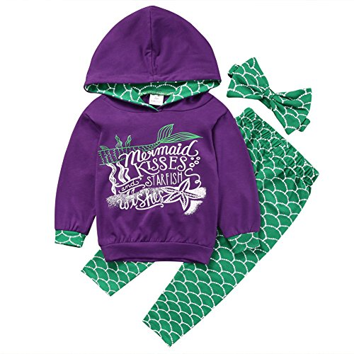 Zekky Baby Girl 3pcs Outfit Set Mermaid Long Sleeve Top+ Long Pants+Headband Suit (5-6 Year)
