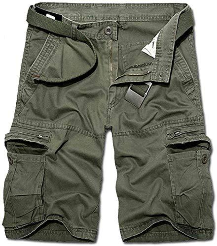 KOCTHOMY Pantalones cortos de senderismo para hombre, estilo relajado con varios bolsillos, de algodón, Verde militar., 42