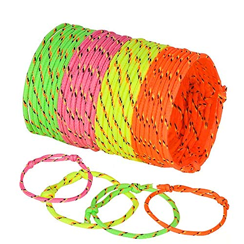ArtCreativity Adjustable Friendship Bracelets - Pack of 144 Fabric Material Wristbands in Assorted Neon Colors - Fun Party Favor, Carnival Prize - Amazing Gift for kids, adults and pets