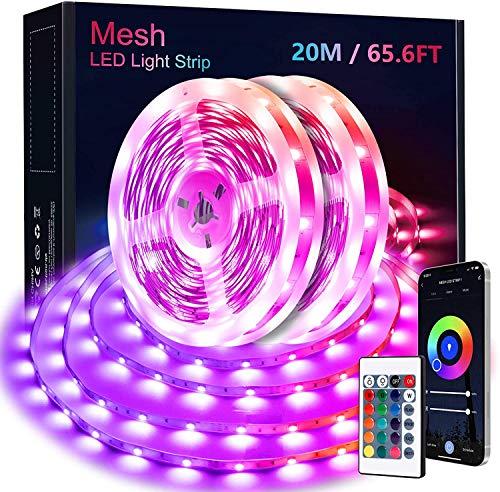 Bluetooth LED Strip 20M, KOOSEED MESH LED Lichtband Farbwechsel LED Streifen mit Gruppesteuerung Fernbedienung Musikmodus, Selbstklebend 5050 RGB LED Lichterkette für Party Haus Schlafzimmer