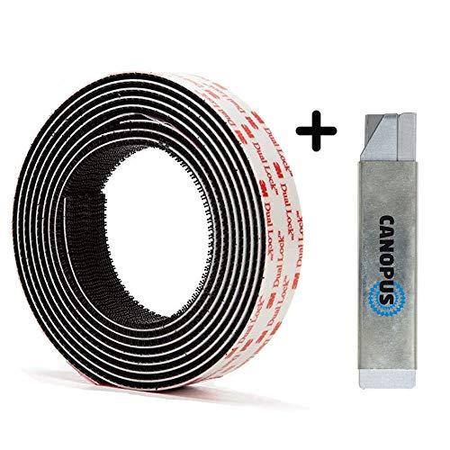3M Dual Lock SJ3550 (25,4mmx2m) 5X stärker als Flauschband und Hakenband, Klettband Klebeband Schwarz, selbstklebender flexibler Druckverschluss - System, mit Box Cutter(1 Stck)